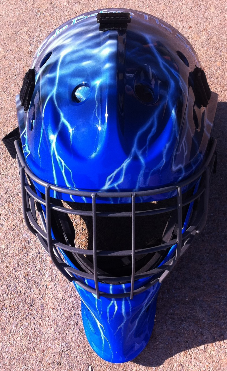 Custom Painted Catcher's Mask- Airbrushed Lightning Storm ...