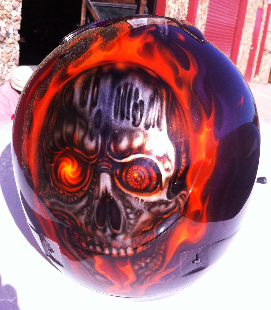 Custom Painted Drag Car Race Helmet Skulls And True Fire