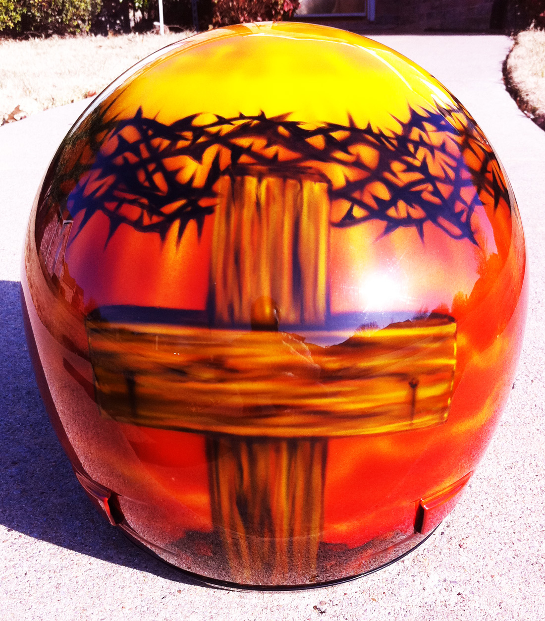 Christian Themed Airbrushed Motorcycle Helmet Dallas