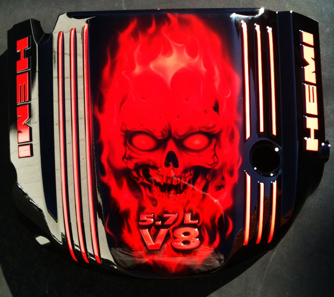 Custom Painted Engine Cover For Dodge Hemi Skulls And